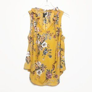 Torrid | Yellow Floral Georgette Tank Top Size 0